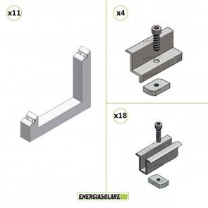 Kit Struttura 10 Pannelli Solari 35mm Blocchetto cemento Zavorra 30° Tetto Piano