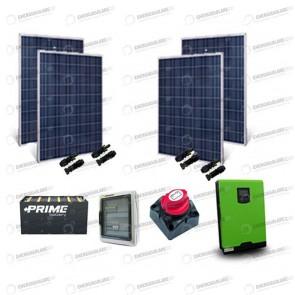 Kit Solare Casa al Mare non Connessa a Rete Enel 3kw 24V Pannelli Solari 1KW Batt OPzS