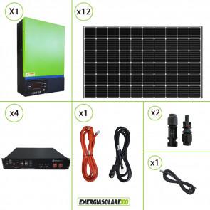 Impianto solare fotovoltaico 2.4KW 48V pannello monocristallino inverter ibrido 5KW MPPT 80A batteria litio 7.2Kwh