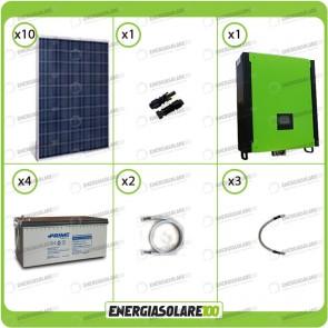 Kit solare fotovoltaico 2.5KW Inverter onda pura Infinity 10Kw 48V regolatore MPPT 15Kw 900Vdc Batterie AGM