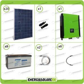 Kit solare fotovoltaico 5.4KW Inverter onda pura Infinity 5000W 48V regolatore MPPT 10Kw 900Vdc Batterie AGM