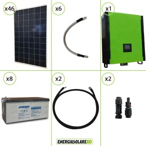 Kit solare fotovoltaico 12.5KW Inverter onda pura Infinity 10Kw 48V regolatore MPPT 15Kw 900Vdc Batterie AGM