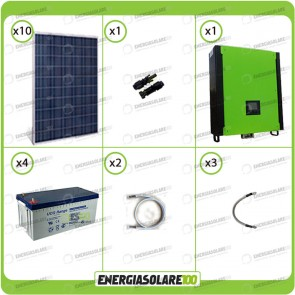 Kit solare fotovoltaico 2.5KW Inverter onda pura Infinity 2.5Kw 48V regolatore MPPT 15Kw 900Vdc Batterie AGM