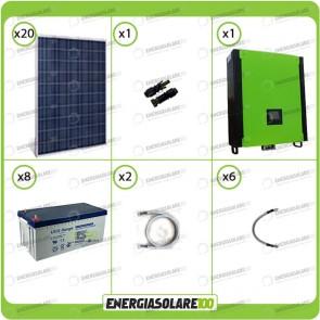 Kit solare fotovoltaico 5KW Inverter onda pura Infinity 2.5Kw 48V regolatore MPPT 15Kw 900Vdc Batterie AGM