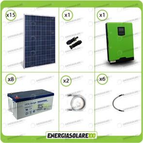 Kit solare fotovoltaico 3.7KW Inverter onda pura Infinity 5000W 48V regolatore MPPT 10Kw 900Vdc Batterie GEL