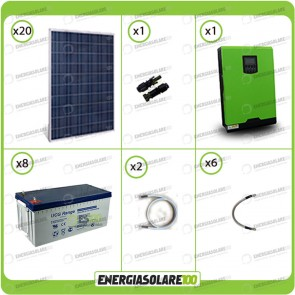 Kit solare fotovoltaico 5KW Inverter onda pura Infinity 5000W 48V regolatore MPPT 10Kw 900Vdc Batterie GEL