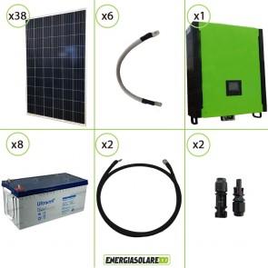 Kit solare fotovoltaico 10KW Inverter onda pura Infinity 2.5Kw 48V regolatore MPPT 15Kw 900Vdc Batterie AGM