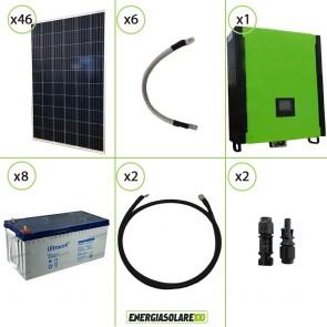 Kit solare fotovoltaico 12.5KW Inverter onda pura Infinity 2.5Kw 48V regolatore MPPT 15Kw 900Vdc Batterie AGM