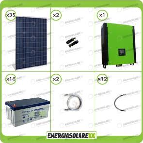 Kit solare fotovoltaico 8.7KW Inverter onda pura Infinity 5000W 48V regolatore MPPT 10Kw 900Vdc Batterie GEL