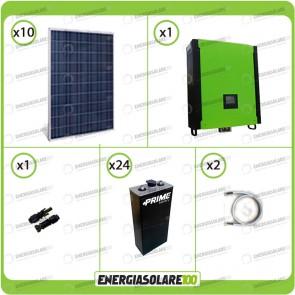 Kit solare fotovoltaico 2.5KW Inverter onda pura Infinity 2.5Kw 48V regolatore MPPT 15Kw 900Vdc Batterie OPzS