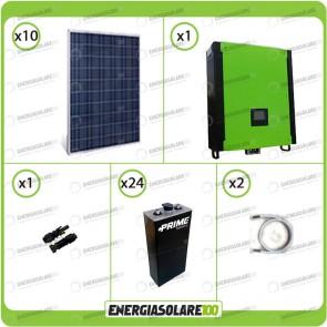 Kit solare fotovoltaico 2.5KW Inverter onda pura Infinity 5000W 48V regolatore MPPT 10Kw 900Vdc Batterie OPzS