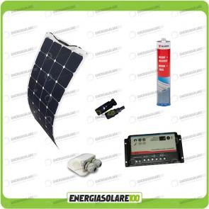 Kit camper con pannello solare monocristallino semifessibile da 100W in ETFE e regolatore di carica per doppia batteria