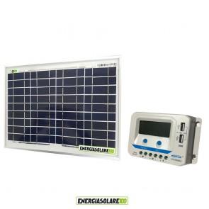 Kit solare con pannello fotovoltaico 10W e regolatore di carica EpSolar 10A VS1024AU con prese USB