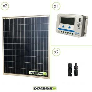 Kit solare 24V con due pannelli 80W = 160W regolatore di carica VS1024AU 10A Epsolar con prese USB