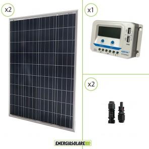 Kit solare 24V con due pannelli 100W = 200W regolatore di carica VS1024AU 10A Epsolar con prese USB