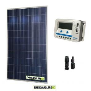 Kit solare 24V con pannello fotovoltaico 250W e regolatore 10A PWM con uscite USB