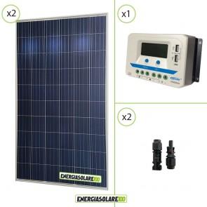 Kit solare 24V con due pannelli 150W = 300W regolatore di carica VS2024AU 20A Epsolar con prese USB
