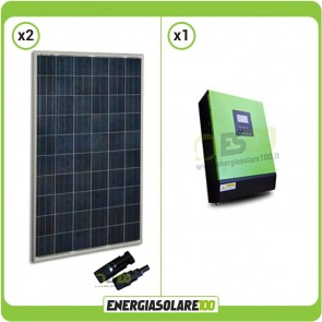 Kit fotovoltaico Casa Solare pannelli solari europei 540W Serie HF 24V Inverter onda pura Genius30 3KW PWM 50A
