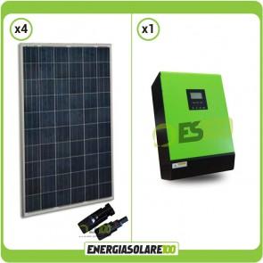 Kit fotovoltaico per impianto domestico con 1KW di pannelli solari europei Inverter ibrido a onda pura Genius50 5000W 5000VA 48V PWM 50A