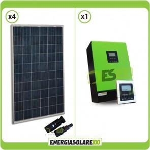 Kit Casa Solare Base pannelli fotovoltaici 1 kW Serie HF Inverter ad onda pura Genius50  5KW 48V PWM 50A con Display Remoto