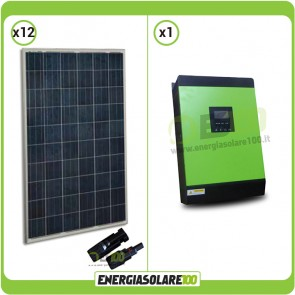 Impianto solare fotovoltaico 3kW Serie HG Inverter ad onda pura Genius40 3200W 4000VA 48V MPPT 60A