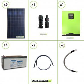 Impianto solare fotovoltaico 2.5KW 24V pannello policristallino Inverter ibrido Edison 24V 3KW MPPT 80A batteria AGM 200Ah