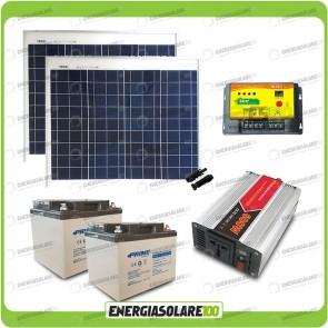 Kit baita pannello solare 100W 24V inverter onda modificata 600W batteria AGM 38Ah LS EU