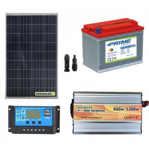 Kit baita rifugio di montagna pannello solare 100W Inverter onda modificata 600W Batteria AGM 40Ah Regolatore 10Ah