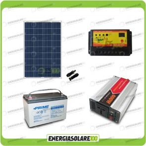 Kit baita pannello solare 100W 12V inverter onda modificata 600W batteria AGM 100Ah