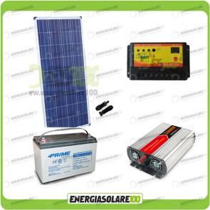Kit baita pannello solare 150W 12V inverter onda modificata 1000W batteria AGM 100Ah