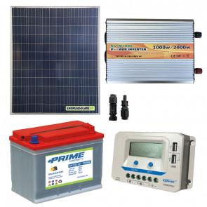 Kit baita pannello solare 200W 12V inverter onda modificata 1000W batteria 100Ah regolatore EPSolar