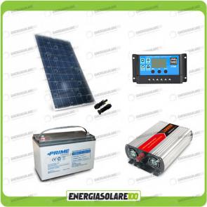 Kit baita pannello solare 200W 12V inverter onda modificata 1000W batteria AGM 100Ah regolatore NVSolar