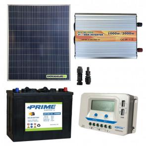 Kit baita pannello solare 200W 12V inverter onda modificata 1000W batteria AGM 150Ah regolatore EPSolar