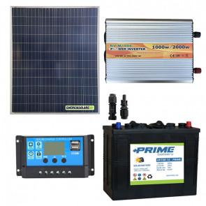 Kit baita pannello solare 200W 12V inverter onda modificata 1000W batteria AGM 150Ah regolatore NVSolar