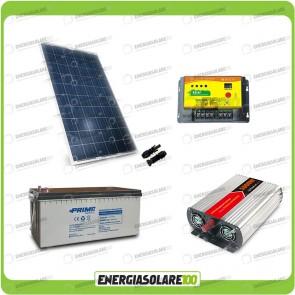 Kit baita pannello solare 200W 12V inverter onda modificata 1000W batteria AGM 200Ah regolatore NVsolar