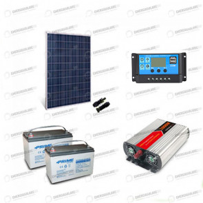 Kit baita pannello solare 250W 24V inverter onda modificata 1000W 2 batterie AGM 100Ah regolatore NVsolar