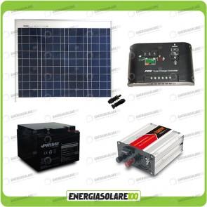 Kit baita pannello solare 50W 12V inverter onda modificata 300W batteria AGM 24Ah Ep