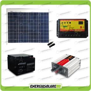 Kit baita pannello solare 50W 12V inverter onda modificata 300W batteria AGM 24Ah