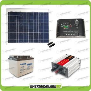 Kit baita pannello solare 50W 12V inverter onda modificata 300W batteria AGM 38Ah Ep