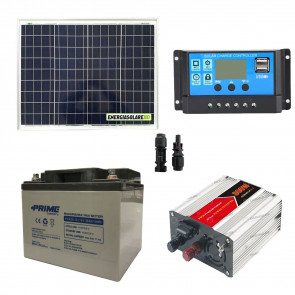 Kit baita pannello solare 50W 12V inverter onda modificata 300W batteria AGM 38Ah