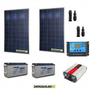 Kit baita pannello solare 500W 24V inverter onda modificata 1000W 24V 2 batterie AGM 150Ah regolatore NVsolar