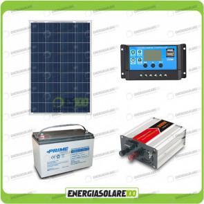 Kit baita pannello solare 80W 12V inverter onda modificata 300W batteria AGM 100Ah
