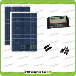Kit Solare Camper 200W 12V regolatore di carica doppia batteria REGDUO 2 MC4