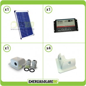 Kit Camper Base 20W (Pannello fotovoltaico  + regolatore Regduo + Staffe + Passacavi)