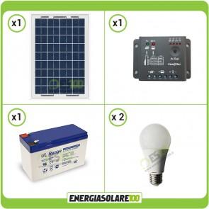 Kit illuminazione interni pannello solare 10W lampade LED 7W 12V max 1 ora batteria UL