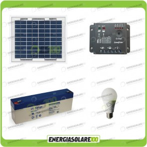 Kit illuminazione interni esterni pannello solare 5W lampadina LED 7W 12V per max 1 ora di funzionamento