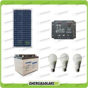 Kit illuminazione esterni e interni pannello solare 30W con 3 lampade bulbo 7W autonomia 6 ore