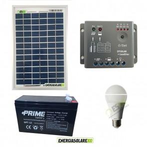 Kit illuminazione interni pannello solare 10W EJ lampadina LED 7W 12V per max 3 ore di funzionamento