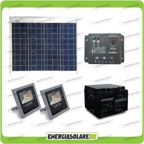 Kit fotovoltaico per l'illuminazione esterna con faro LED 10W pannello fotovoltaico 20W autonomia fino a 5 ore