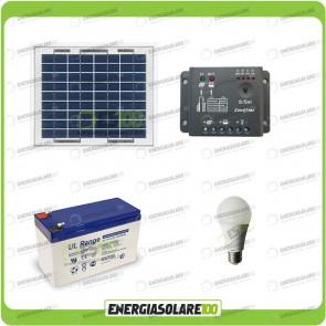 Kit illuminazione esterni e interni pannello solare 5W con 1 lampade bulbo 7W autonomia 3 ore